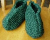 Handknitted Adult Dark Green Phentex Slippers, Mens Size 9/10