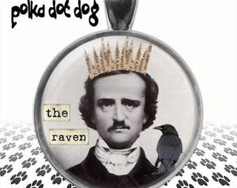 The Raven -- Edgar Allan Poe Large Glass-Covered Pendant