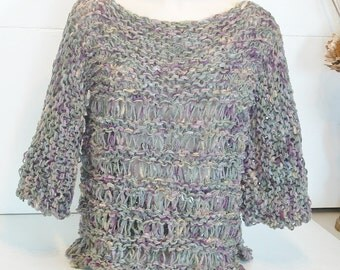 Chunky openwork pullover top knit tunic slouchy sweater in subtle pale heather pastel colours for small medium large women or small men