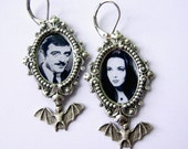Gomez and Morticia Earrings - Addams Family Earrings - Gothic earrings - Romantic Couple earrings - Valentines Day Earrings -