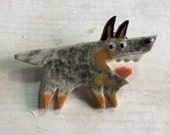 Ceramic Mosaic Tile or Brooch Pin Porcelain Australian Cattle Dog Funny