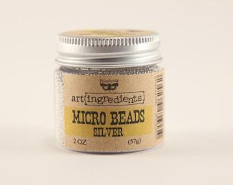 Finnabair Silver Micro Bead Caviar - metallic holeless, nail art, fake sugar, mixed media, resin, polymer clay, glitter