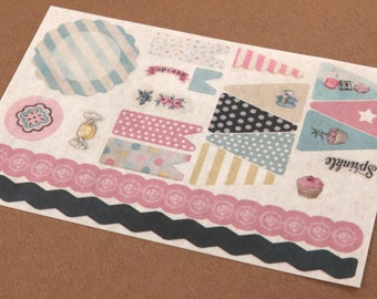 Washi Banner Stickers - The Sweet Life - 21 designs - planner, scrapbooking, cottage chic, packaging, gift wrapping, card making