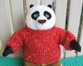 Handknit Red Teddy Bear Sweater