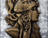 Antique Cast Bronze European Metal Appliqué Plaque of Alphonse Mucha Art Nouveau Byzantine Goddess