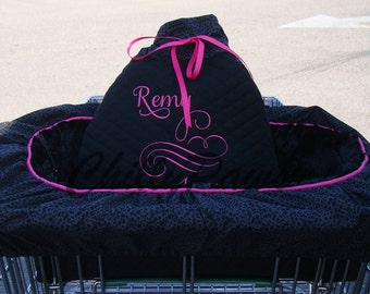 Shopping Cart Cover - Dogs - Pets - Black Leopard Print - Black Faux Fur Seat - Embroidered Personalization - Tote
