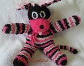 Sock puppy dog pink white and black Stuffed Animal Doll Baby Toys handmade