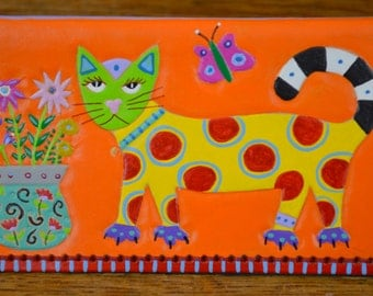 Checkbook Cover with Polka Dot Cat