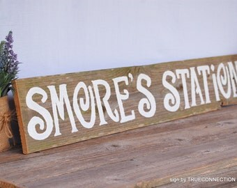 Smore's Station Sign, S'more Bar Sign, Dessert Sign, Large Bar Signs, Reception Bar Sign, Rustic Wedding Signs, Barn Reception Decorations