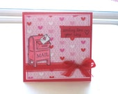 Valentine's Day Card, Hugs and Kisses, Sending Love Your Way Card, Mailbox Card, 5x5, Pink and Red Valentine Greeting Card