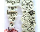 Clear Stamps, Acrylic Stamps, Card Making Supplies, Scrapbooking, Flower Stamps, Laugh Out Loud Stamp, Leaf Stamps, Thank You stamps