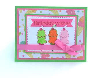Birthday Card, Ice Cream Cone Card, Birthday Wishes Card, Happy Birthday, Lime Green and Pink Card