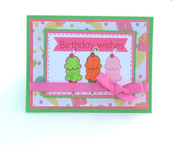 Items Similar To Birthday Card, Ice Cream Cone Card