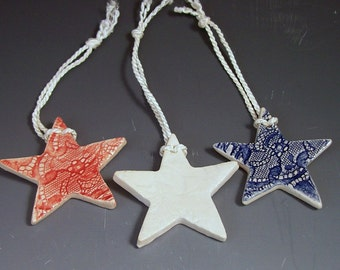 Red White and Blue  Lace Star Ornament / Star Christmas Ornaments/Set of 3/Patriotic Red White and Blue