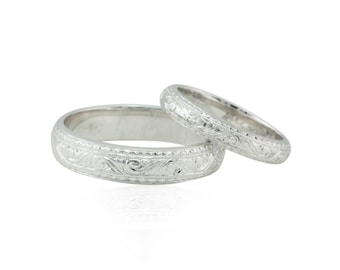 Wedding Ring Set, 14k White Gold His and Hers Intricately Engraved Wedding Bands - LS2311