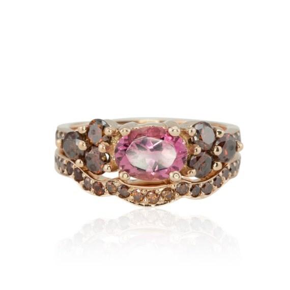Rose Gold Engagement Ring, Pink Tourmaline and Fancy Brown Diamond Wedding Ring Set in 14K Rose Gold - LS1748