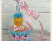 Easter Decoration Shabby Chic Baby Duck in an Baby Nut Cup Easter Decoration TVAT Baby Ornament Baby Shower Decorations