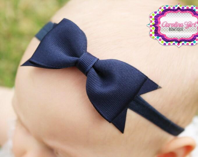 "Navy Tuxedo Bow Headband  ~ 3.5"" Hairbow ~ Small Hair Bow ~ Girls Headband ~ Toddler Bow ~ Baby Hair Bow ~ Hair Clip ~ Girls Hair Bow"