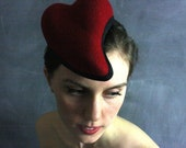 Tete d'Amour #25 sculptural red wool felt heart hat