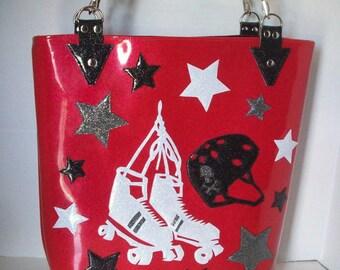 Metalflake sparkle vinyl tote bag hot pink with roller skates, helmet and stars