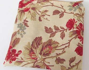 Zippered MINI WET BAG Tan Floral - Purse sized 5.5 x 5.5 Free Shipping