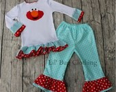 Elmo Teal and Red Tee and Pant Set Birthday Girl