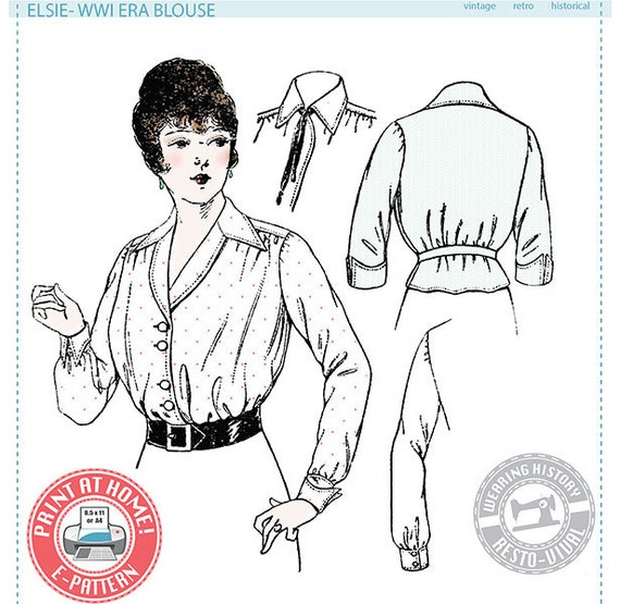 Edwardian Sewing Patterns- Dresses, Skirts, Blouses, Costumes 1910s WWI Era Blouse - Wearing History PDF Vintage Historical Costume Sewing Pattern $9.99 AT vintagedancer.com