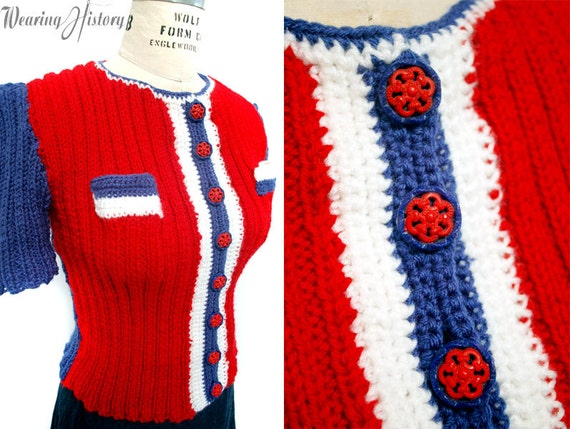 1940s Style Sweaters and Knit Tops 1940s Patriotic Tri-Color Blouse Knitting E-pattern- PDF Knitting Pattern Download $2.99 AT vintagedancer.com
