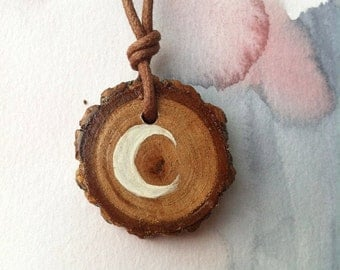 Waning Moon Wooden Casurina Charm Pendant with hand painted detail