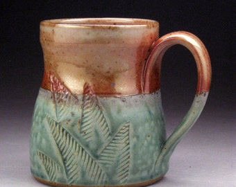Stoneware Mug with Etched Fern Design in Agua & Orange/Tan Made-to-Order
