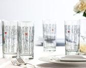 Birch Tree Glassware - Set of 2 Highball Glasses - Birch Tree Glasses - Birch Tree Wedding Glasses - Birch Trees Glassware