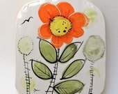very tall garden hand painted ceramic art tile