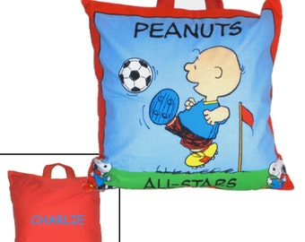 PERSONALIZED PILLOW for BOY - Made From Peanuts Charlie Brown and Snoopy Fabric - Great for Travel & Car Trips!