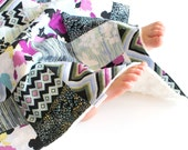 Minky Security Blanket Modern Age Patchwork Baby Girl Blanket, Lovey