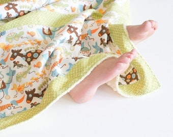 Small Patchwork Blanket with Minky for Baby Boy Pull Toys