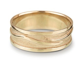 Men's Wave Vine Ring - Gold Wedding Band - yellow, white or rose gold