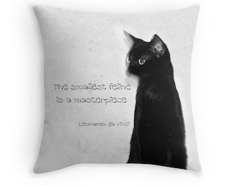 "Cat Quote Pillow Cover Abstract Cat Photo Decorative Pillow Cover 16"" 18"" 20"" Square Throw Pillow Cat Home Decor Black & White Cushion Cover"