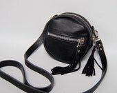 NEW - small leather drum bag  - wood grain embossed cow hide - black // silver