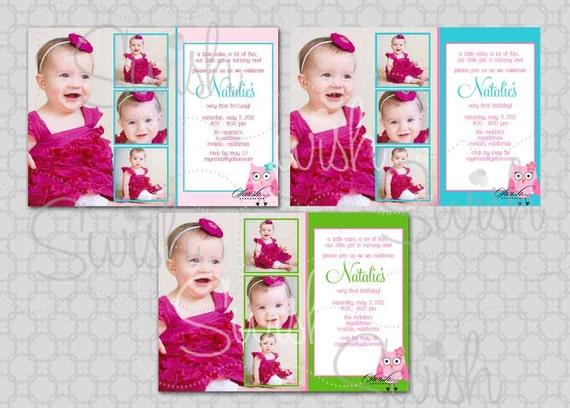 SALE Collage First Birthday Invitation