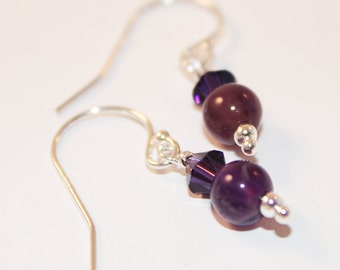 Purple Amethyst Earrings, Sterling Silver, Swarovski Crystal, February Birthday Gemstone, Dainty Earrings,Ready To Ship, Bridesmaid Jewelry