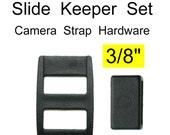 """100 SETS - 3/8"""" - LONGATED Strap Adjuster, 3/8 inch, Long 3-Bar Slide  and Keeper SET, Polyacetal Plastic"""