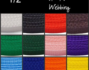 """WOW Sale - 115 Yards - In PIECES - 1/2"""" - POLY Webbing - Medium Weight, Strap"""