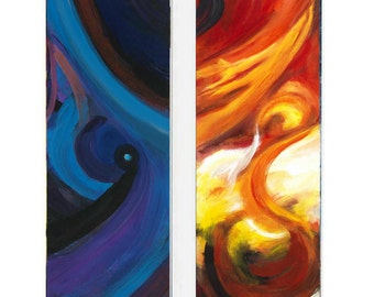 Abstract Space and Abstract Sky, A Paired Set of Vertical Paintings (Each 30 by 10 Inches)