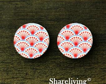 Buy 1 Get 1 Free - Pink Wood Cabochon, Wooden Button,12mm 15mm 20mm  Round Handmade Photo Wood Cut Cabochon  -- HWC029U