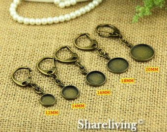 6pcs 52x19mm Antique Bronze Clasp for Key Ring With 12mm, 14mm, 16mm, 18mm, 20mm Setting
