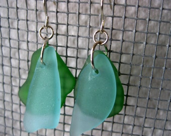 Multi color Seaglass inspired earrings green and aqua glass on silver plated wires. Beachglass jewelry