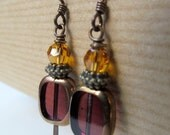 SALE Purple Czech Glass and Golden Yellow Swarovski Crystal Beaded Niobium Earrings