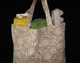 Japanese Stylized Flower Design Heavy Duty Grocery Market or Equipment Totes SET of 2 Tan