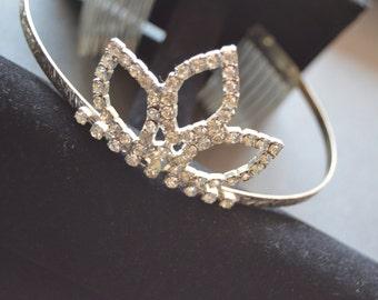 1950's Rhinestone Tiara for Weddings Flower Girl  Bridal Vintage Clear Runway Crystal 50's 1950S Crown Baby Photoshoot Prop Headpiece