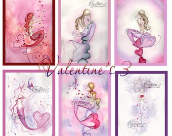 Blank VALENTINE'S DAY set 3  MERMAIDS Note Cards from Original Watercolors by Camille Grimshaw